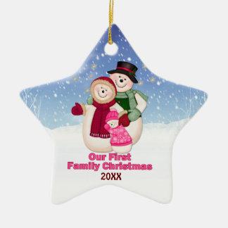 1st Christmas pink Frosty Snowman Family Ceramic Star Decoration
