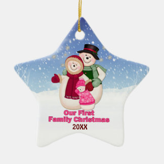 1st Christmas pink Frosty Snowman Family Christmas Ornament