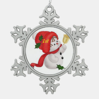 1st Christmas Snowbaby Snowflake Pewter Christmas Ornament