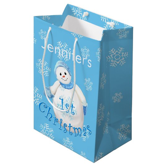 1st Christmas Snowman Custom Name Medium Gift Bag