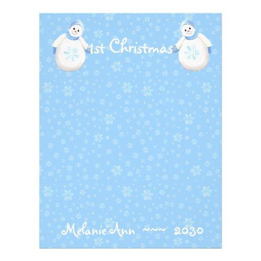 1st Christmas Snowman Scrapbook Paper 1 Flyer Design