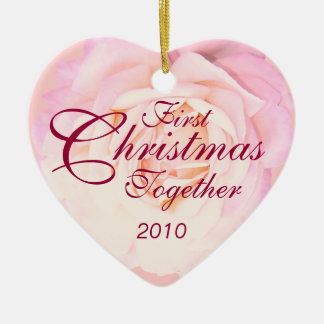 1st Christmas Together Heart Monogram Ornament
