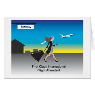 1st Class International Flight Attendant Greeting Card