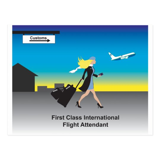 1st Class International Flight Attendant Postcard