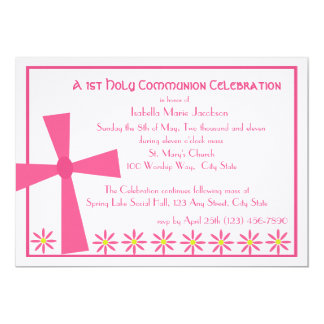 1st Communion Cross and Flowers 13 Cm X 18 Cm Invitation Card
