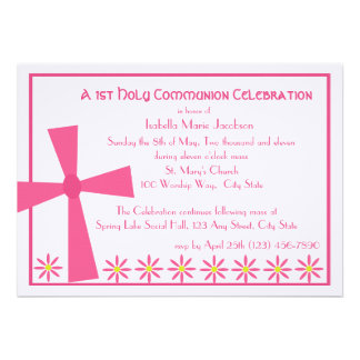 1st Communion Cross and Flowers Personalized Invites
