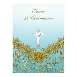 1st Communion Party Invitation blue Personalized Invitation