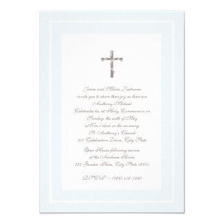 1st Communion Soft blue and Brown 13 Cm X 18 Cm Invitation Card