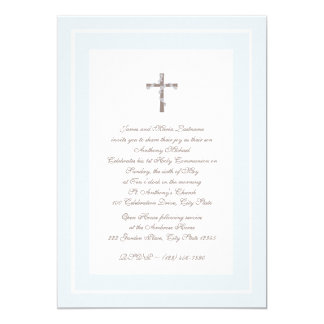 1st Communion Soft blue and Brown Card