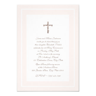 1st Communion Soft Pink and Brown 13 Cm X 18 Cm Invitation Card