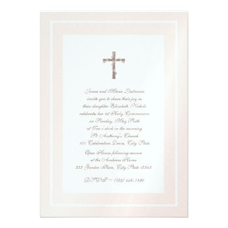 1st Communion Soft Pink and Brown Personalized Announcements