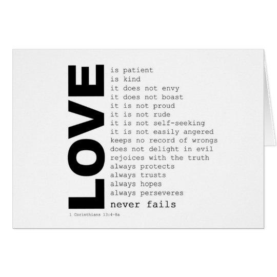 1st Corinthians 13:4-THE LOVE VERSE Card