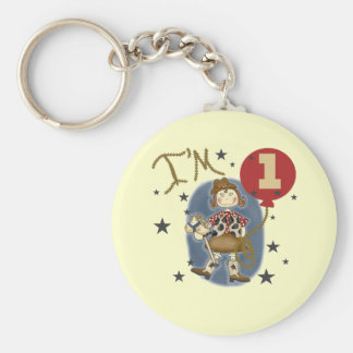 1st Cowgirl Birthday Tshirts and Gifts Basic Round Button Key Ring