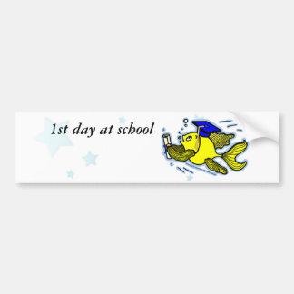 1st Day at School funny cute cartoon greeting card Bumper Sticker