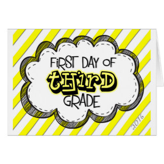 1st day of 3rd grade sign greeting card