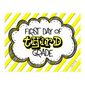1st day of 3rd grade sign postcard