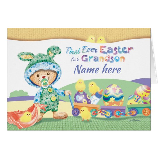 1st Easter, Grandson, Wooly Bunny with Chicks Card