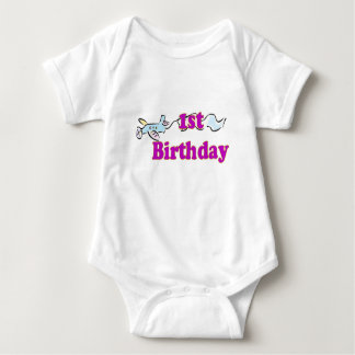 1st first birthday aeroplane banner t-shirt