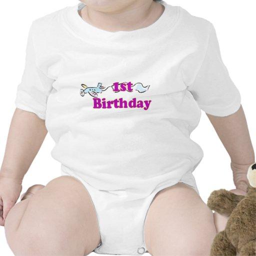 1st first birthday aeroplane banner t-shirt