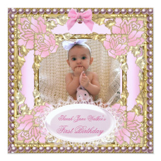 1st First Birthday Girl Pink White Gold Photo 13 Cm X 13 Cm Square Invitation Card