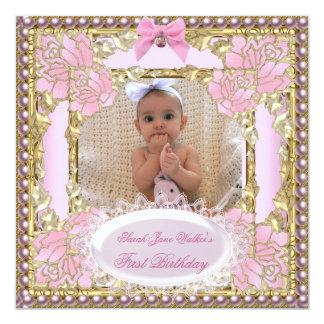1st First Birthday Girl Pink White Gold Photo 13 Cm X 13 Cm Square Invitation Card