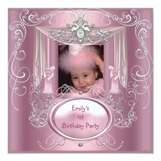 1st First Birthday Party Girl Pink Silver Star