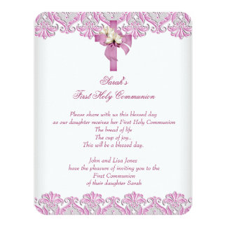 1st First Holy Communion Cross Girls White Pink 11 Cm X 14 Cm Invitation Card