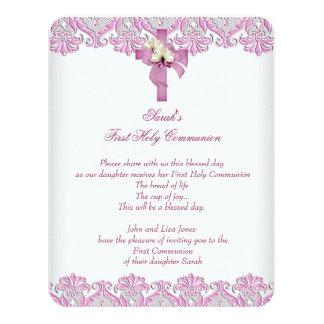 1st First Holy Communion Cross Girls White Pink Custom Invitations