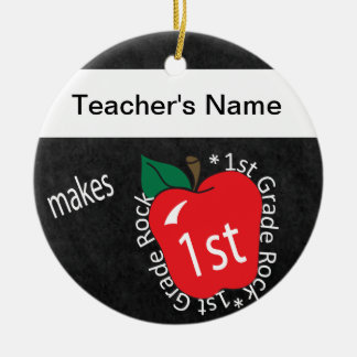 1st Grade Rocks | School Teacher | Chalkboard Round Ceramic Decoration