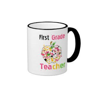 1st Grade teacher paint splatter apple Mug