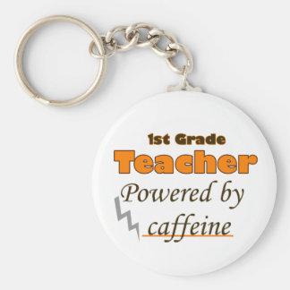1st Grade Teacher Powered by caffeine Basic Round Button Key Ring