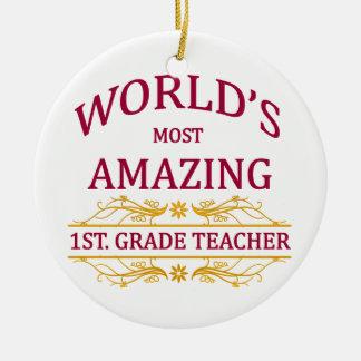 1st. Grade Teacher Round Ceramic Decoration