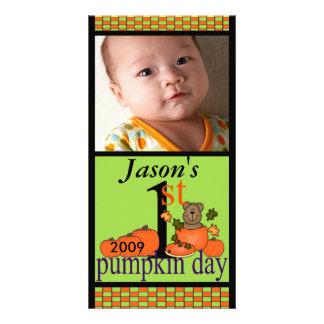 1st Halloween Pumpkin Photo Card