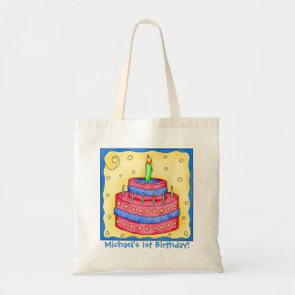 1st Happy Birthday Cake Name Personalized Boy Gift Budget Tote Bag