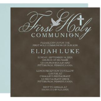 1st Holy Communion Boy Dove Cross Brown Distressed 13 Cm X 13 Cm Square Invitation Card