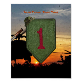 1st ID Infantry big red 1 Vietnam War Patch Print