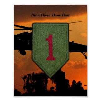 1st Infantry big red 1 Vietnam War Patch Print