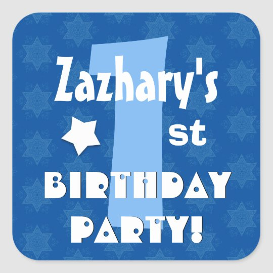 1st Kids Birthday Party Custom Name V1 Square