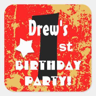 1st Kids Birthday Party Custom Name V1A Square Sticker