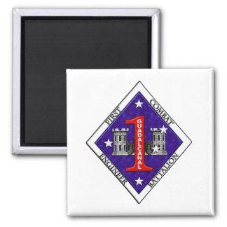 1st Marine Engineer Bat Square Magnet
