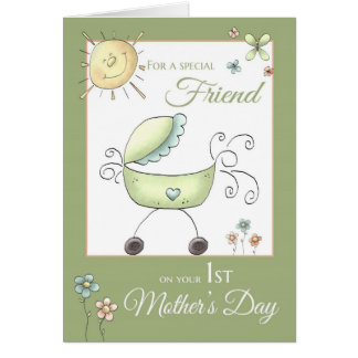 1st Mother's Day - Special Friend - Baby Carriage Greeting Card
