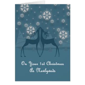 1st Newlyweds Reindeer Christmas Card