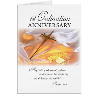 1st Ordination Anniversary, Cross Candle Card