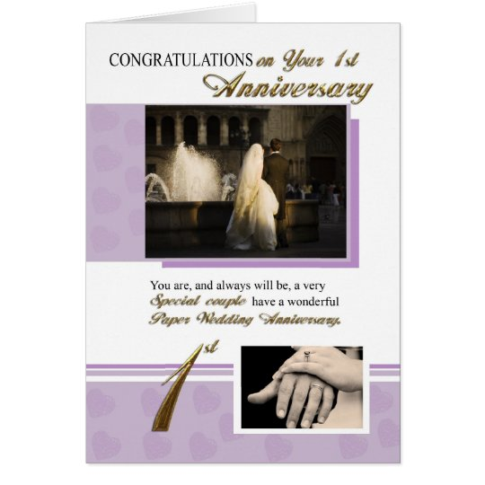 1st Paper Wedding Anniversary Card