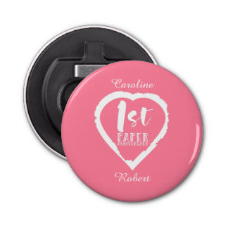1ST paper wedding anniversary heart Bottle Opener