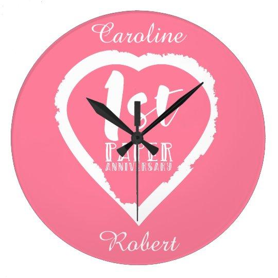 1ST paper wedding anniversary heart Large Clock