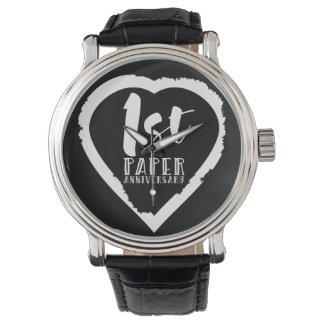 1ST paper wedding anniversary heart Watch