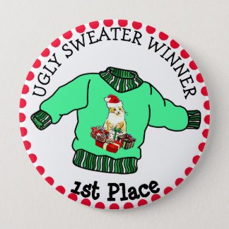 1st Place Ugly Sweater Winner Christmas Contest 10 Cm Round Badge