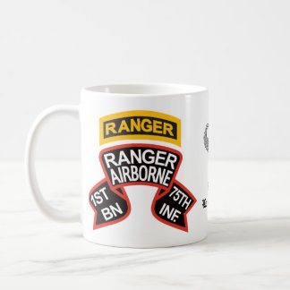 1st Ranger BN old-style scroll & tab, combat jump Coffee Mug