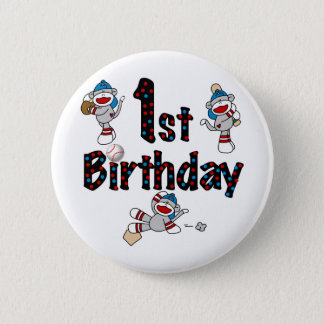 1st Sock Monkey Baseball Birthday 6 Cm Round Badge